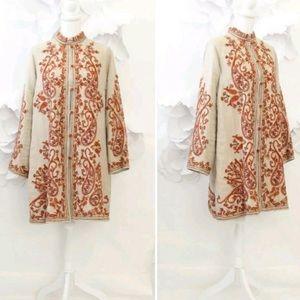 Soft Surroundings linen kimono embroidered coat M